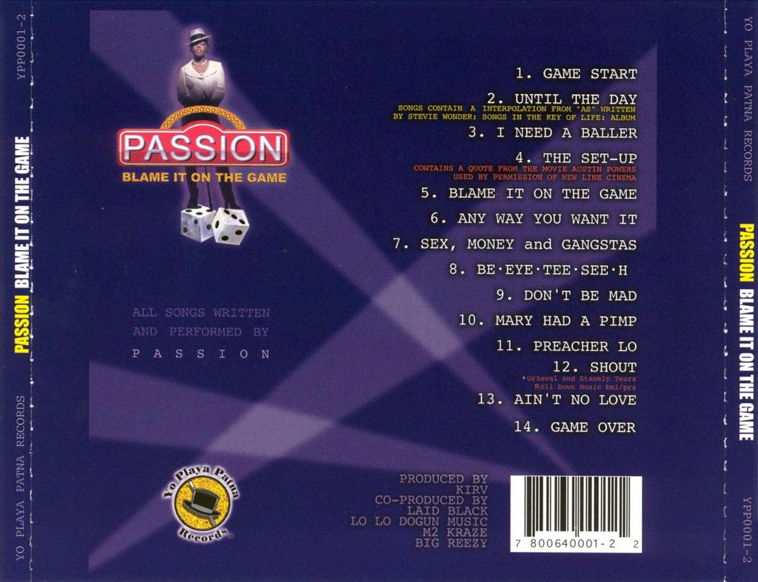 Passion - Blame It On The Game (Back)